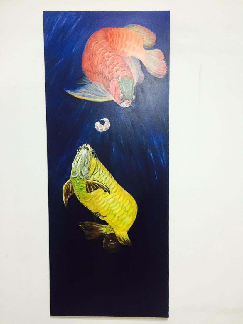 北京观赏水族箱批售Artand艺术家巨幅龙鱼创作中